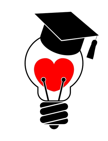 educated: Light bulb with heart and graduation cap. Love education concept. Isolated. White background
