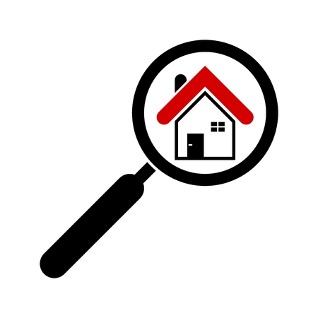 handglass: Search house icon. Magnifying glass. Real estate. Isolated. White background. Magnifier, house object.