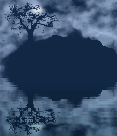 reflection in water: Autumn tree landscape with water reflection. Melancholic nature theme