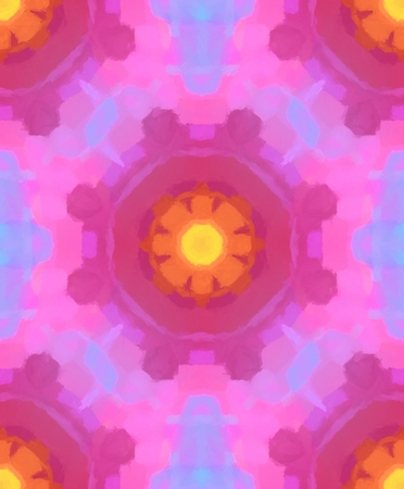 girlish: Colorful seamless pattern made from digital painted ornament. Tileable wallpaper. Stock Photo
