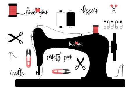 Elementen voor het naaien op een witte achtergrond met kalligrafische letters op een witte achtergrond