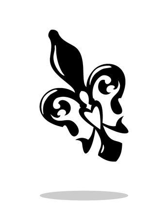ellipse: Fleur de lis with drop shadow. Isolated on white background. French lily icon