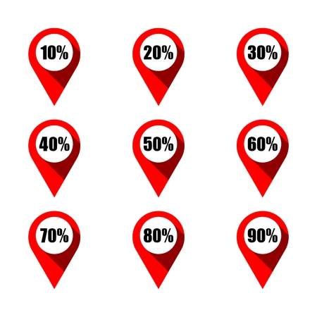 Set of red map pointers with different percentage. Isolated on white background. Various percentage discount concept elements