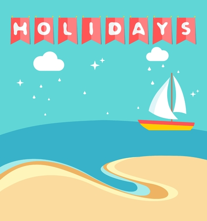 sailboard: Summer holidays beach scene with ship sailing a sea in flat style
