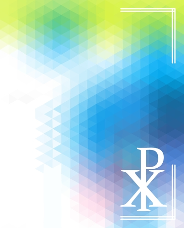 chi: Symbol of God silhouette against triangular background. Christogram. Chi Rho symbol. Chrismon.
