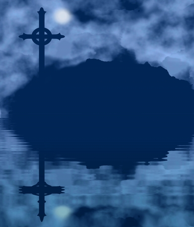 bleak: Cross silhouette and moon on a foggy night with water reflection. Halloween theme Stock Photo