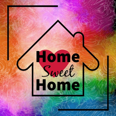 home design: Home sweet home design over colorful textured background