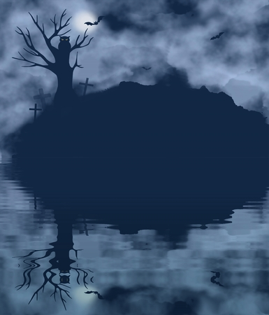 bleak: Tree, bat, owl and moon on a foggy night with water reflection. Halloween theme