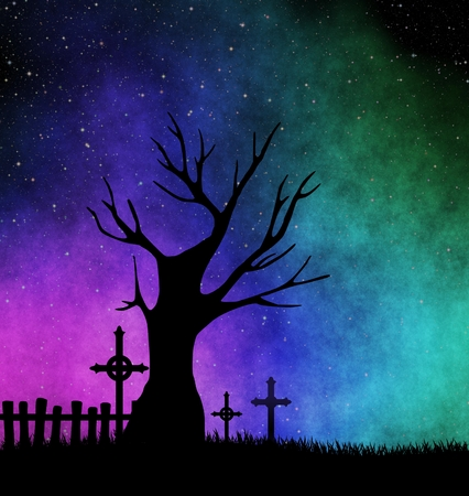 crosses: Tree silhouette at starry night Stock Photo