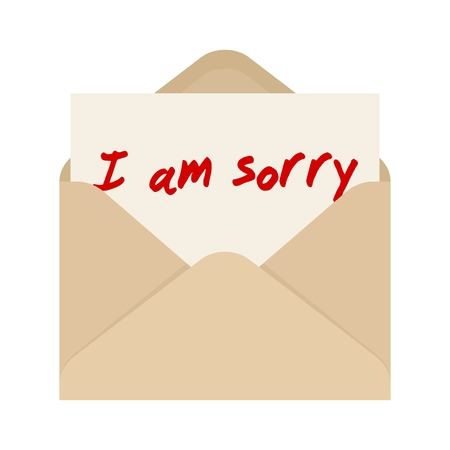 repent: I am sorry card in brown envelope. The letter pulled out from brown envelope Illustration