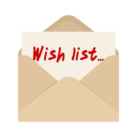 wishlist: Wish list card in brown envelope. The letter pulled out from brown envelope