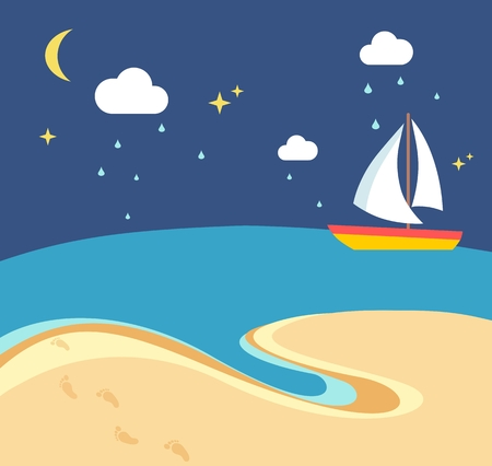 sailboard: Beach scene with the sailing boat at a rainy night in flat style