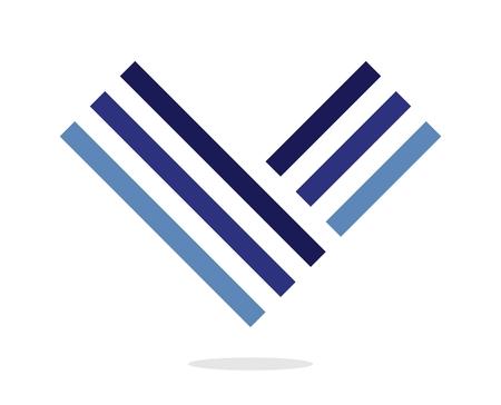 Blue letter V icon. Design element. Isolated on white background