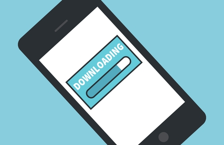 cellularphone: Cellphone downloading icon flat design. Mobile phone over blue background with empty space for your text