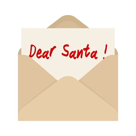 northpole: Dear Santa card in brown envelope. The letter pulled out from an envelope. Isolated on white background