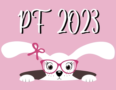 pf: Happy New Year 2023. PF 2023. Hare girl with glasses. Pink background