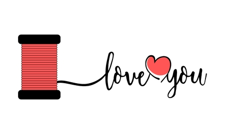 Love you text with heart and thread. Valentines Day concept Illustration
