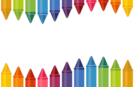 Close up colored crayons wave with empty space isolated on white background. Horizontally seamless banner. Illustration