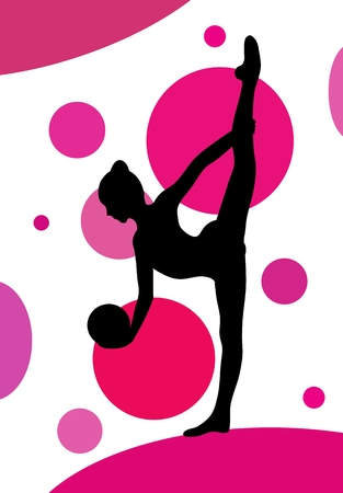 Silhouette of girl doing rhythmic gymnastics exercises with ball over abstract dotted background