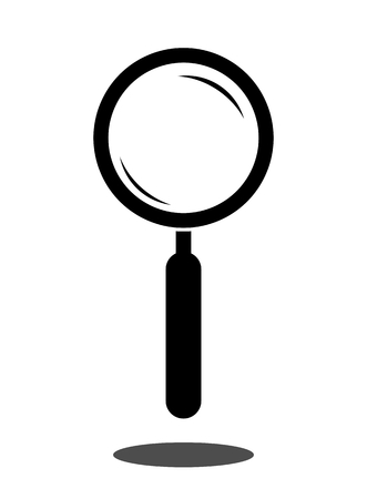 handglass: Magnifying glass. Magnifier. Simple icon. Isolated on white background