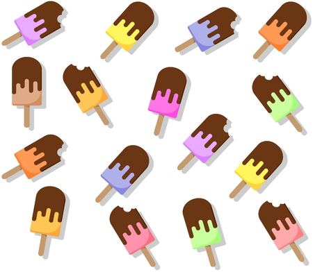 Seamless popsicle pattern. Flat candy background with drop shadow Illustration