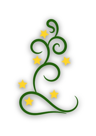 Elegant Christmas tree with stars and drop shadow isolated on white background Stock Photo