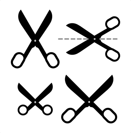 simple cross section: Set of different scissors silhouettes. Illustration
