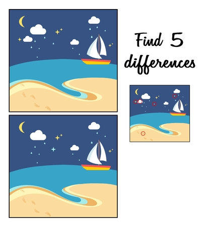 Scène de plage avec le bateau à voile à une nuit. Trouvez 5 différences. Jeu éducatif pour les enfants