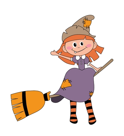 Befana sitting on a broomstick. Ugly witch. Italian Christmas tradition Иллюстрация