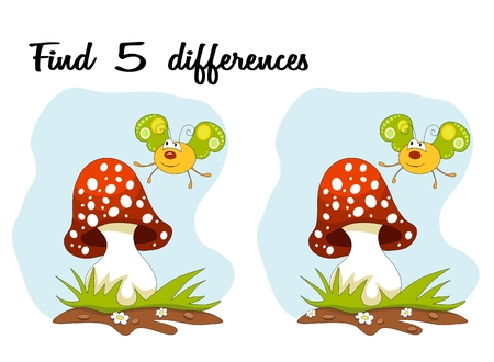 guess: Cartoon butterfly and mushroom over blue sky. Find 5 differences. Educational Game for children Illustration