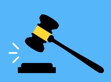 裁判所法のアイコン。小槌のアイコン。裁判所、入札、オークションの概念の判断、裁判官の小槌。オークションのハンマー