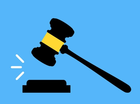 Court law icon. Gavel icon. Court, bid, judgment, and auction concepts. Judge gavel. Auction hammer Illustration