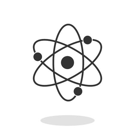 Atom Icon with electrons and protons in trendy flat style isolated on white background. Symbol for your web site design, logo, app