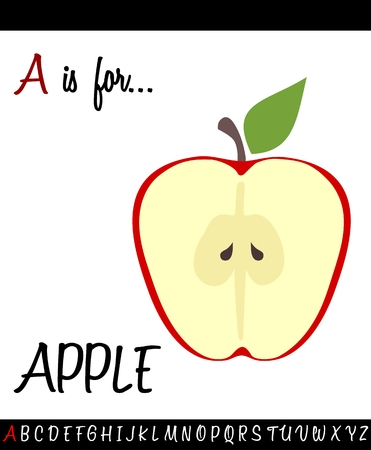 Cartoon Illustration of Capital Letter A with APPLE for Children Education