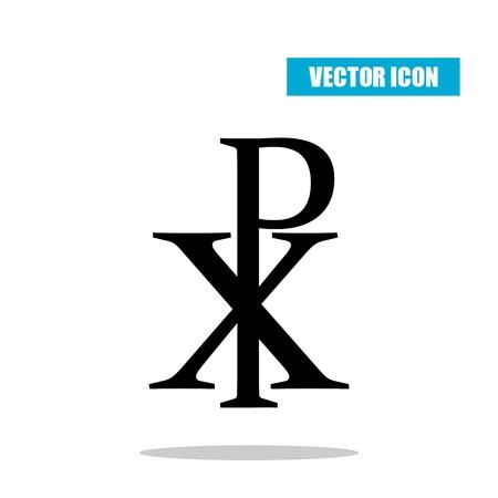 Chi RHO symbol with drop shadow. Christogram. Labarum icon isolated on white background Illustration