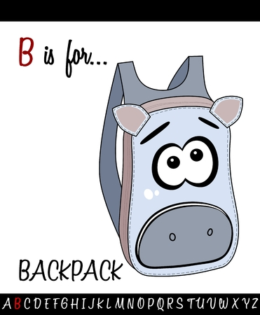 Illustrated vocabulary worksheet card with cartoon BACKPACK for Children Education. School ba play card Illustration