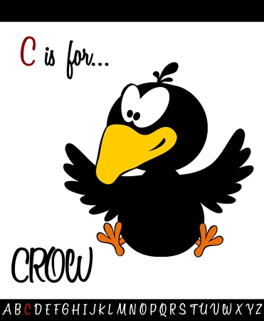 Illustrated vocabulary worksheet card with cartoon CROW for Children Education
