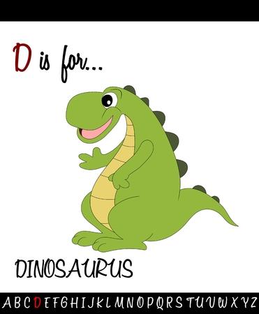 Geïllustreerde woordenschat werkblad kaart met cartoon dinosaurus voor kinderen onderwijs Stock Illustratie