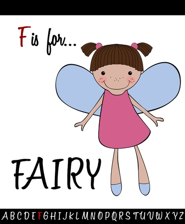 Illustrated vocabulary worksheet card with cartoon FAIRY for Children Education