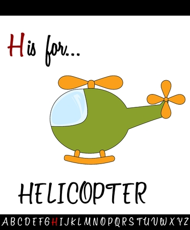 Illustrated vocabulary worksheet card with cartoon HELICOPTER for Children Education Illustration