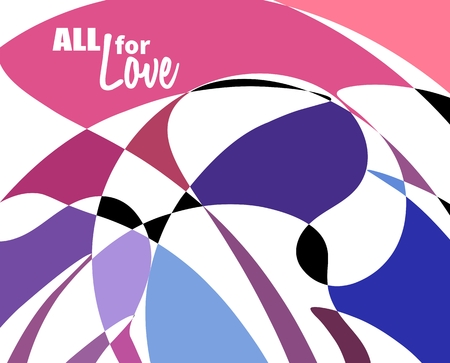 girlish: Multicolored mosaic background. All for love text Illustration