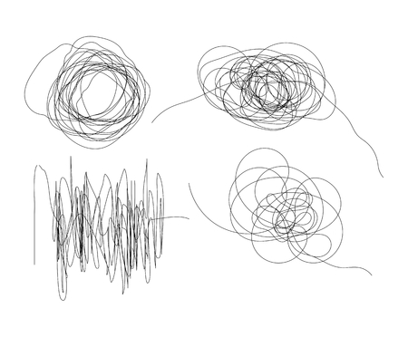 Set of hand drawn scribble line shapes with start and end. Isolated scrawl sketches on white background 向量圖像