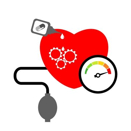 Hartziekte en bloeddruk meetconcept geïsoleerd op een witte achtergrond Stock Illustratie