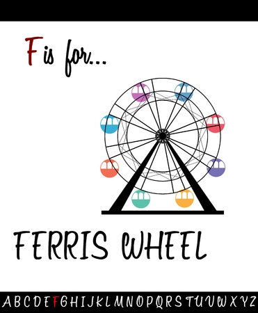 Illustrated vocabulary worksheet card F is for FERRIS WHEEL for Children Education Stock Vector - 81572752