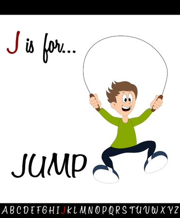 Illustrated vocabulary worksheet card J is for JUMP for Children Education Illustration