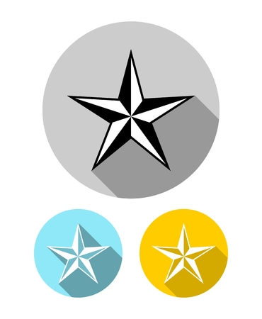 Set of five pointed star icons with long shadow in flat style isolated Illustration
