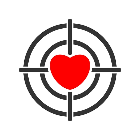 Target with heart icon isolated