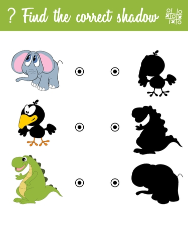 Find the correct shadow. Education game for children with cartoon animals Illustration