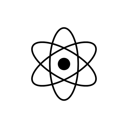 Atom logo. Science sign. Nuclear icon. Electrons and protons. Isolated on white background. Symbol for your web site design, logo, app. Illustration