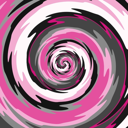 Abstract spiral in pink, gray, black and white color